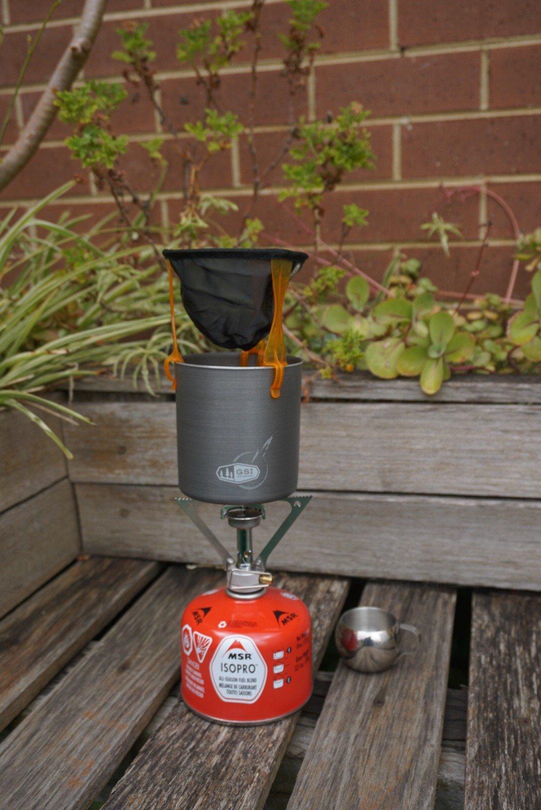 MSR Pocket Rocket with GSI Minimalist, ultralight java drip and espresso mug